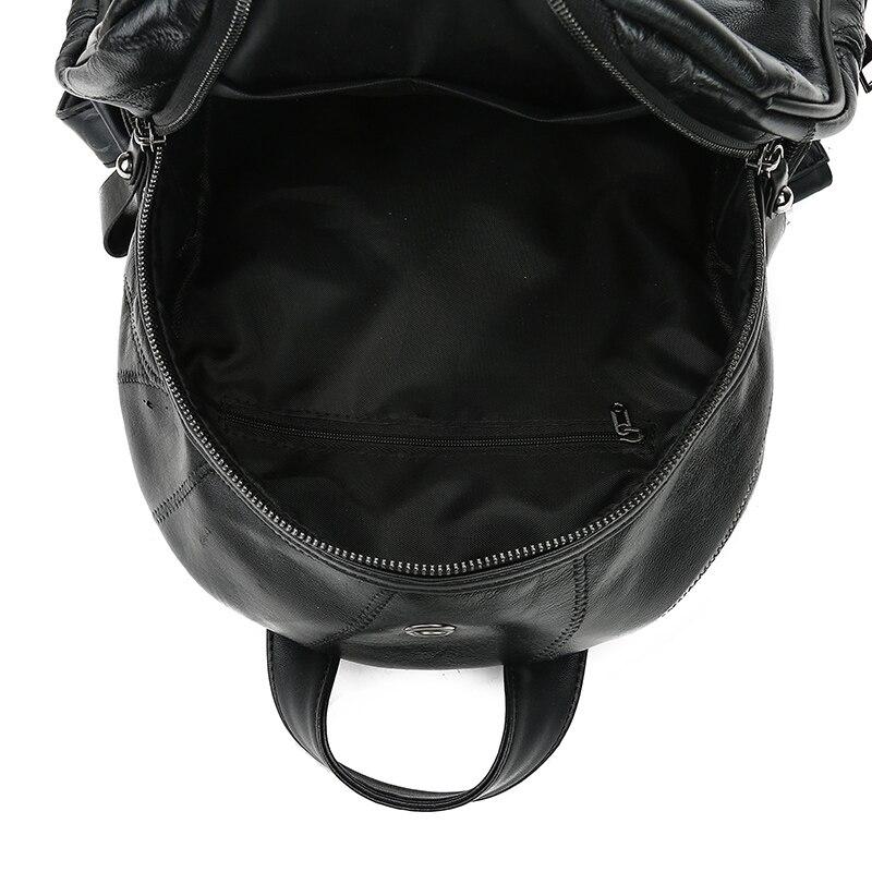 Shengxilu Sheepskin Women Backpacks Genuine Leather Female Rucksack New Large Capacity Travel Preppy Style Black Women Bags #5