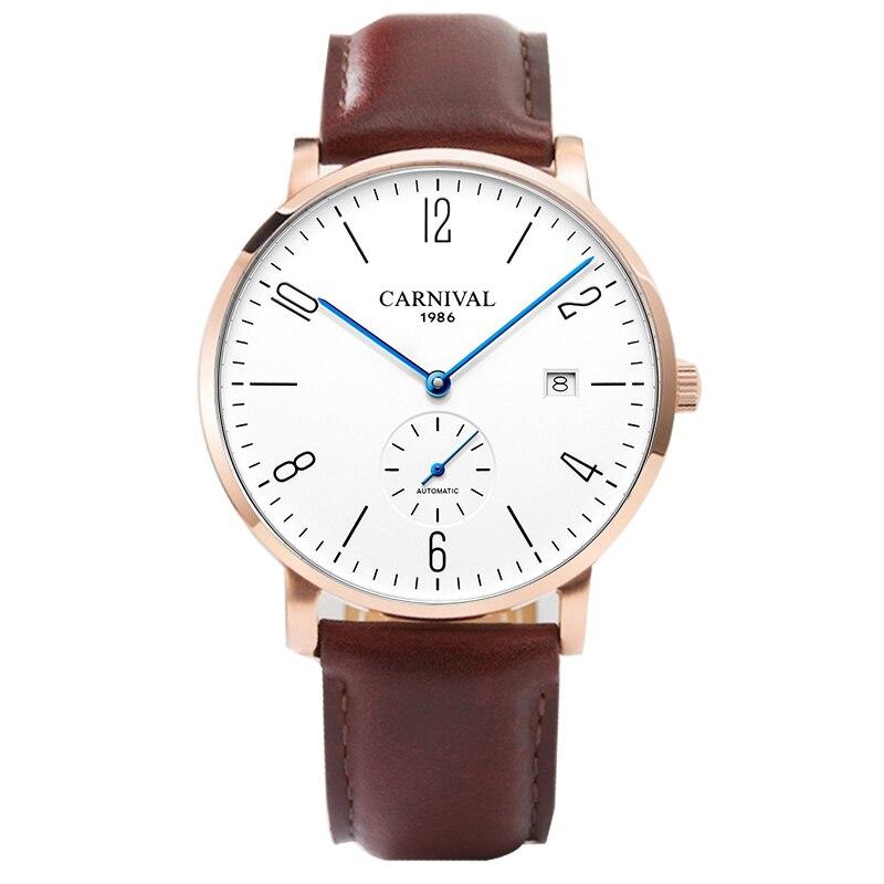 Здесь продается  2018Carnival Ultra-thin Automatic Watch Men Simple Business Wristwatch Leather Fashion Casual Dive 30M Car Date Clock Male  Часы