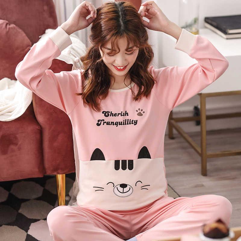 ... M XXL Для женщин пижамные комплекты 100% хлопок ночное Демисезонный  пижама с длинным рукавом пижамный комплект с круглым вырезом женские пижамы  Mujer на ... afde5c10e09ac