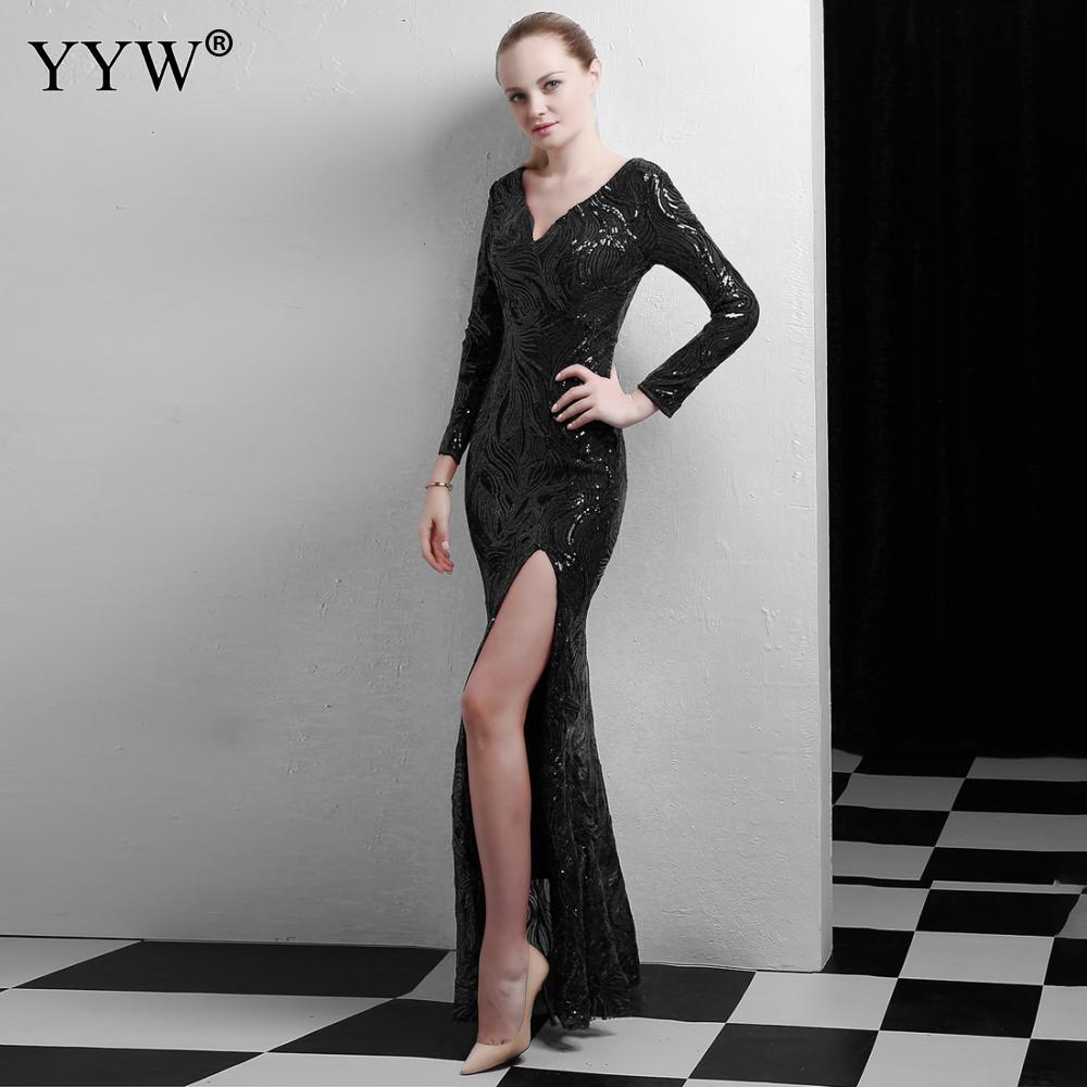 Gold Sequined Deep V Neck Side Slit Evening Party Long Dress Women Luxury Formal Sexy Clubwear Long Sleeve Vestido De Festa 2019