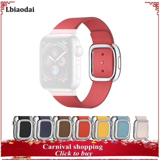 Genuine Leather strap for apple watch band  42mm/38mm 44mm/40mm Modern buckle wrist bracelet belt correa iwatch series 4 3/2/1