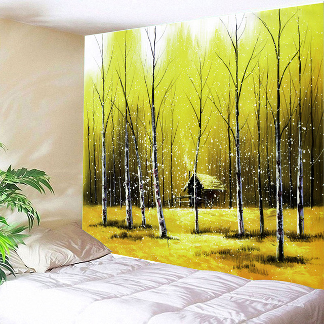 Home Decor Wall Tapestry Forest Printing Art Hanging Green Trees ...