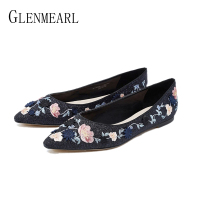 Women Flats Sequined Cloth Shoes Female Shallow Casual Loafers Ladies Shoe Slip On Wedding Party Pointed Toe Embroidered Flats