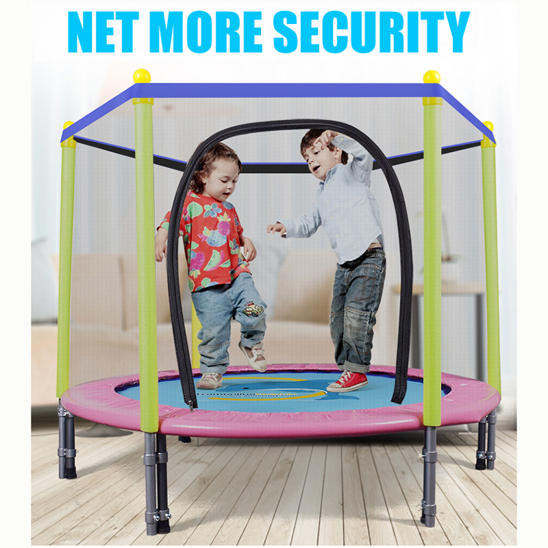 55 Inch Round Kids Mini Trampoline Enclosure Net Pad