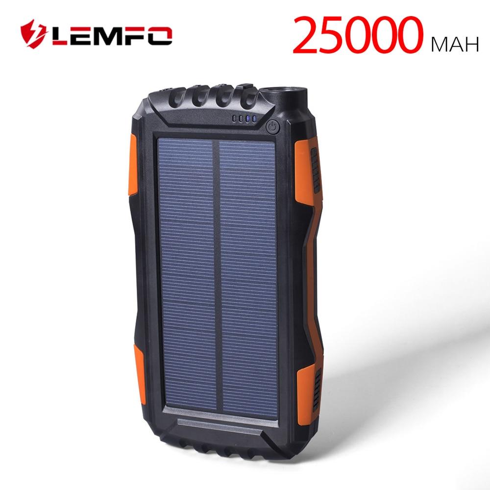 LEMFO Banque D'énergie Solaire 25000 mah IP67 Étanche Powerbank Portable Chargeur De Téléphone Portable Extérieur LED Éclairage Batterie Externe