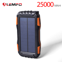 LEMFO Solar Power Bank 25000mah IP67 Waterproof Powerbank Portable Mobile Phone Charger Outdoor LED Lighting External Battery