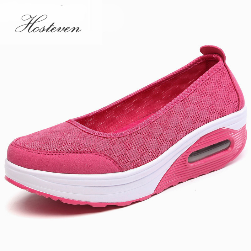 Hosteven Verano Primavera Damas Casual Mujer Zapatillas Zapatos Pisos Chaussure Plataforma Plataforma de malla transpirable Zapato