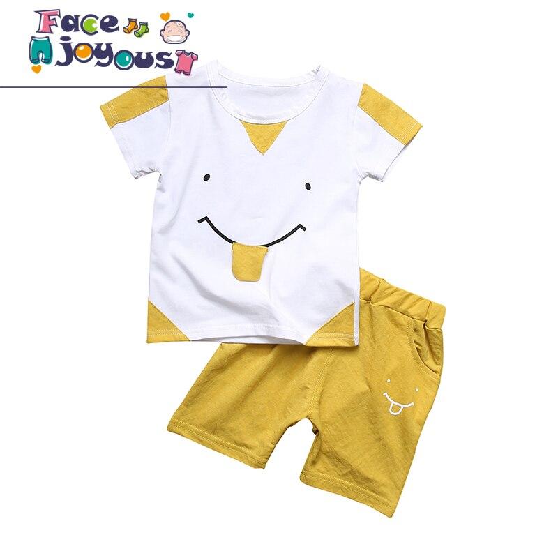 2 шт. Повседневная одежда для маленьких мальчиков детские летние для маленьких девочек Костюмы набор мультфильм 2018 новая детская мода хлопо...
