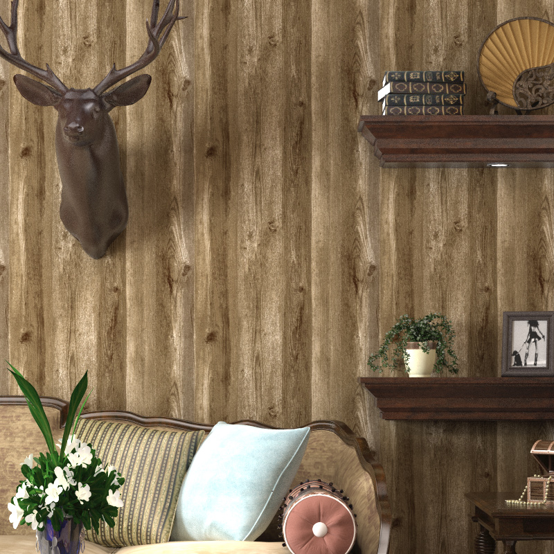 Wood Wallpaper Roll Brown Oak Wood Panel Effect Realistic Plank Wood Grain Wall Paper Bedroom Living Room Decor Wallpapers Aliexpress