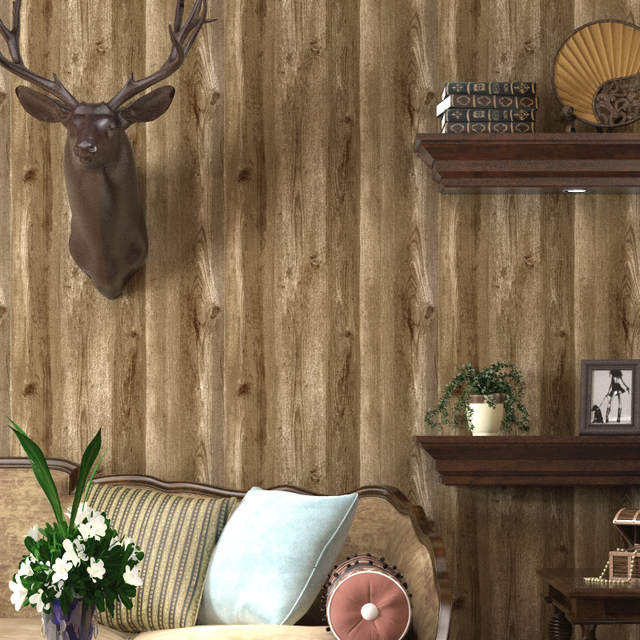 Us 168 52 Offwood Wallpaper Roll Brown Oak Wood Panel Effect Realistic Plank Wood Grain Wall Paper Bedroom Living Room Decor In Wallpapers From