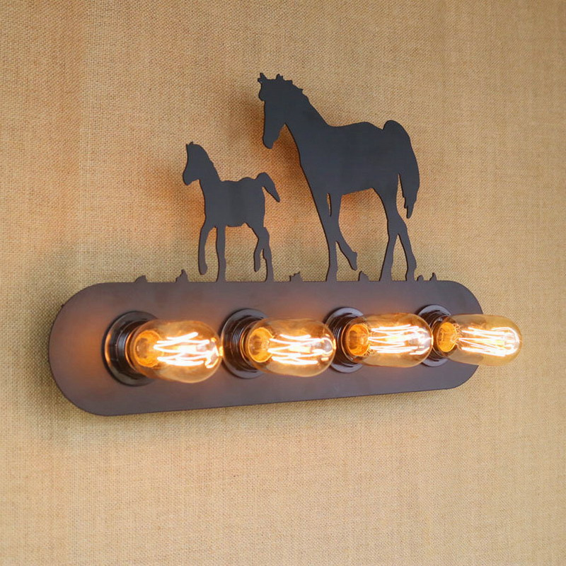 ФОТО Vintage American country restaurant lighting Fashion creative industrial horse animal Wall Lamp for Bar / Bedroom / Study E27