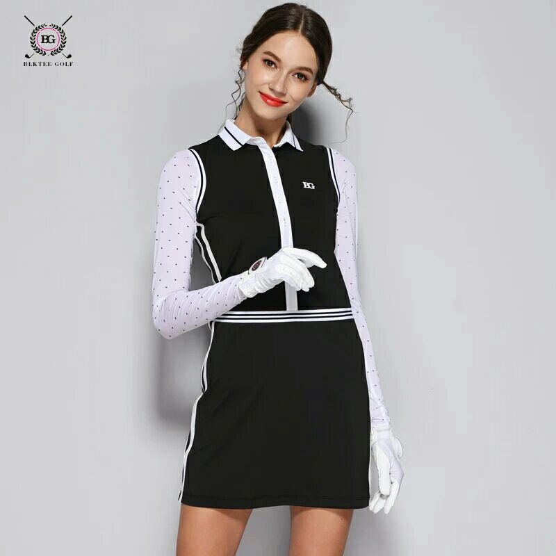 BG 1pcs Dress Golf Shirt With Skirt Lady Outdoor Sportswear Golf Apparel Sleeveless Breathable Sports Dress Slim For Women trendy flat collar sleeveless pocket design buttoned dress for women
