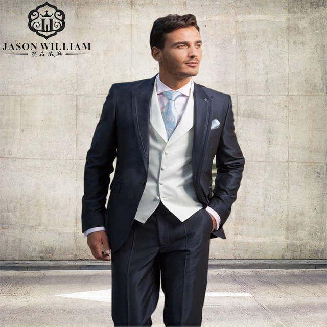 LN220 Dark Blue and white Mens Suits wedding suits for groom Tuxedos ...