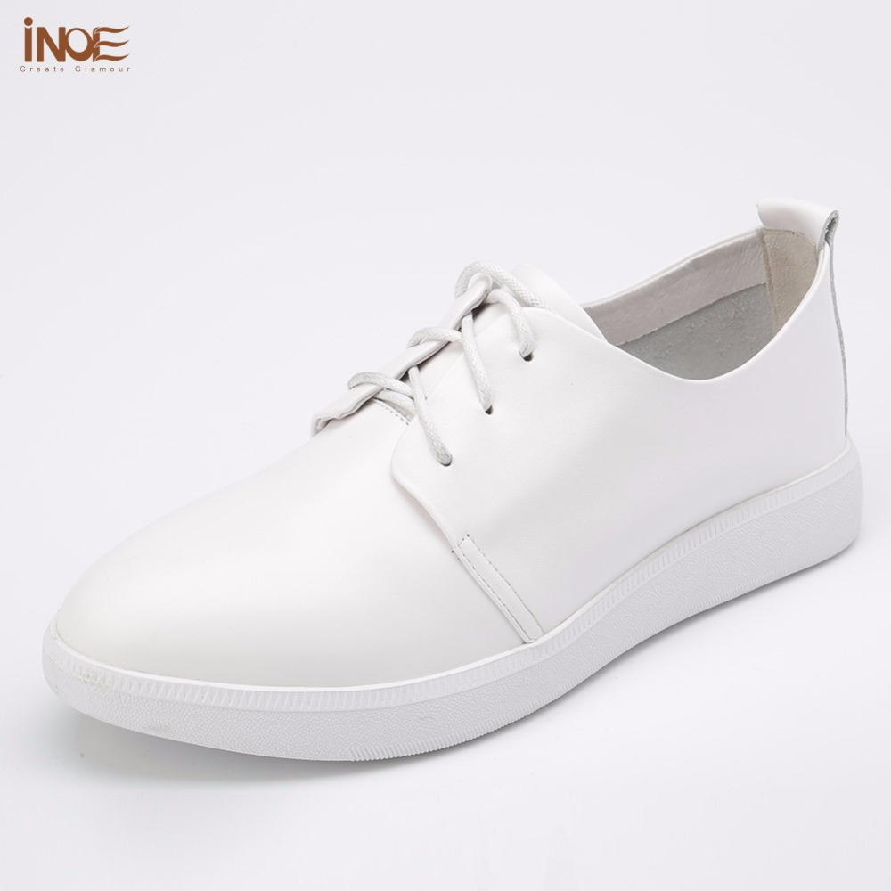 INOE 2018 genuine leather leisure lace up spring autumn sneakers casual shoes for women flats non-slip high quality white black odetina 2017 new designer lace up ballerina flats fashion women spring pointed toe shoes ladies cross straps soft flats non slip