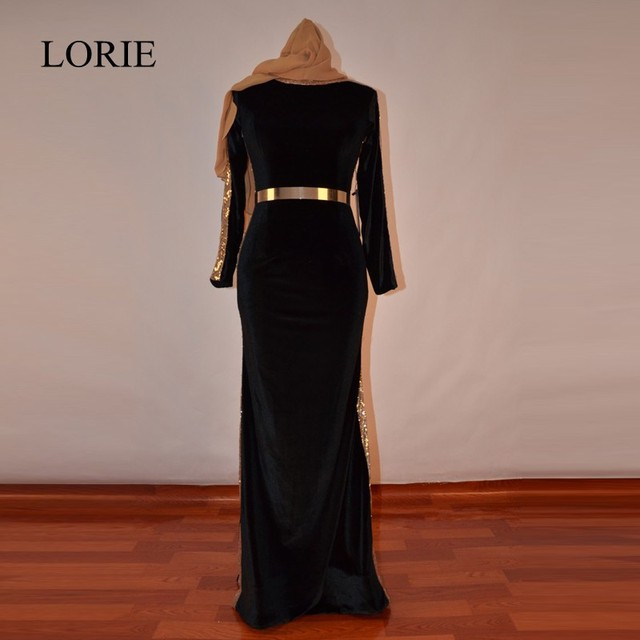Muslim Black Evening Dresses Mermaid 2018 LORIE Abaya In Dubai Gold Sequin  Hijab Long Prom Dresses Marocain With Gold Sash 3e2be83276a0