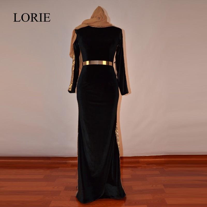 Muslim Black   Evening     Dresses   Mermaid 2018 LORIE Abaya In Dubai Gold Sequin Hijab Long Prom   Dresses   Marocain With Gold Sash