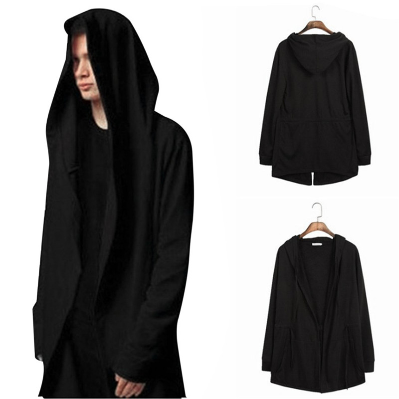 Flight Tracker Men Black Cloak Hoodies 2017 Autumn Long Section Windbreaker Hooded Sweatshirt Loose Cardigan Trench Outwear Coat Drop Shipping Suitable For Men And Women Of All Ages In All Seasons Men's Clothing