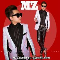 Male host dress men's sequins slim suit suit nightclub bar male singer performance clothing coat tide