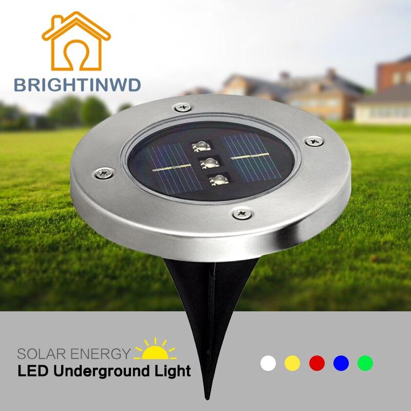 5 pièces LED Lampe Solaire 3 lumière LED pour jardin herbe lumière LED lumière Solaire souterraine Solaire extérieure éclairage