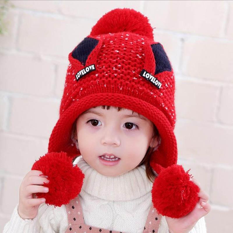 Doitbest/бархатные шапки для мальчиков от 2 до 6 лет, шерстяные шапки с кошачьими ушками однотонная зимняя вязаная шапка для маленьких детей, детские шапки с ушками для девочек - Цвет: Красный