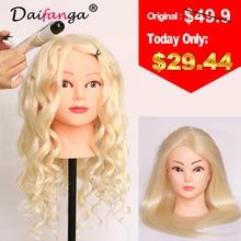 Оптовая продажа 80% Человеческие волосы манекен головы 22 «Блондинка отличное качество натуральных волос парикмахерских Куклы головка для Красота Salon