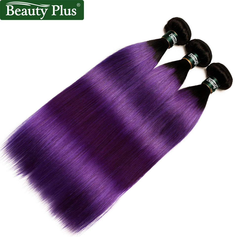 Dark Roots Purple Straight Hair Bundles With Frontal Pre-Plucked Nonremy Brazilian Ombre Human Hair Weave Bundles With Frontals