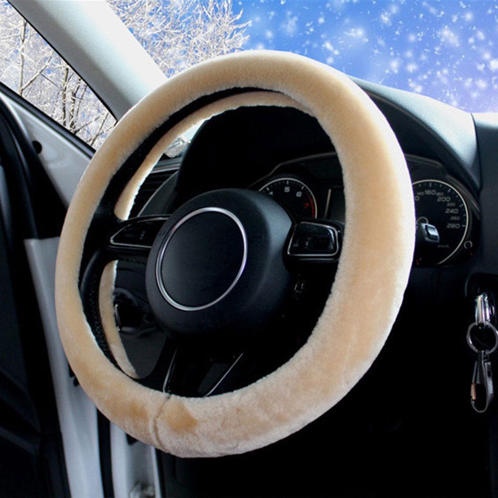 Car Decor Steering Wheel Cover Protector Winter Warm Wool Like Plush Sleeve Case New