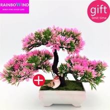 ФОТО 1pc welcoming pine bonsai simulation decorative flowers and wreaths artificial flowers fake green pot plants home decor