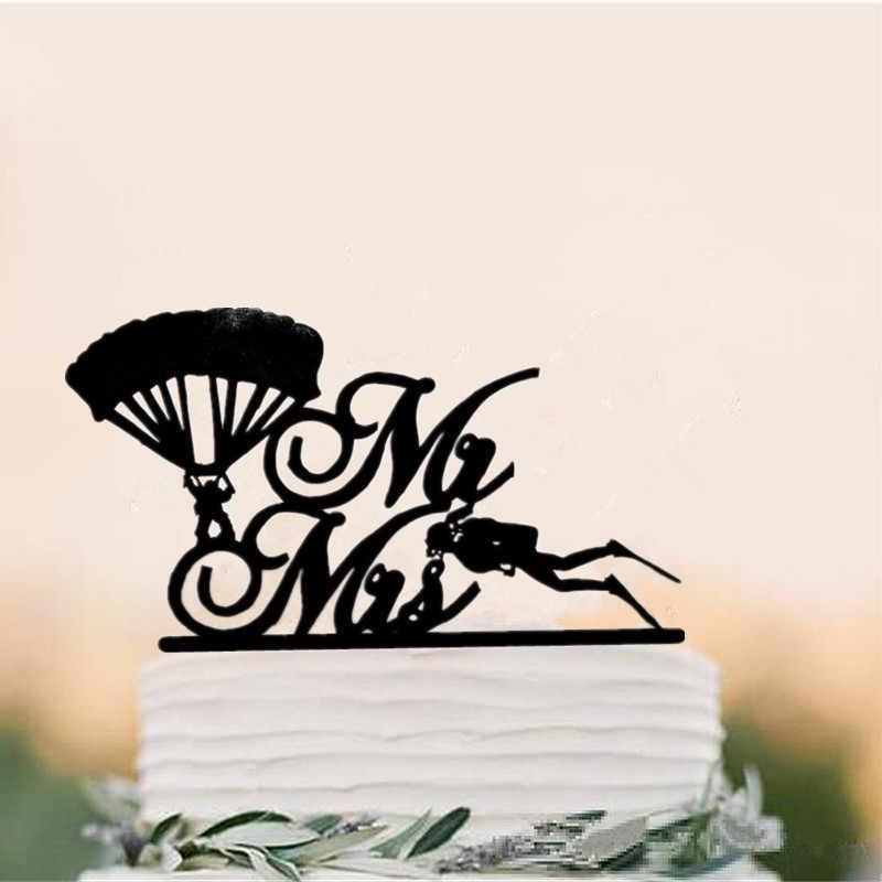 Креативные украшения торта Инструменты парашют жениха и подводное плавание