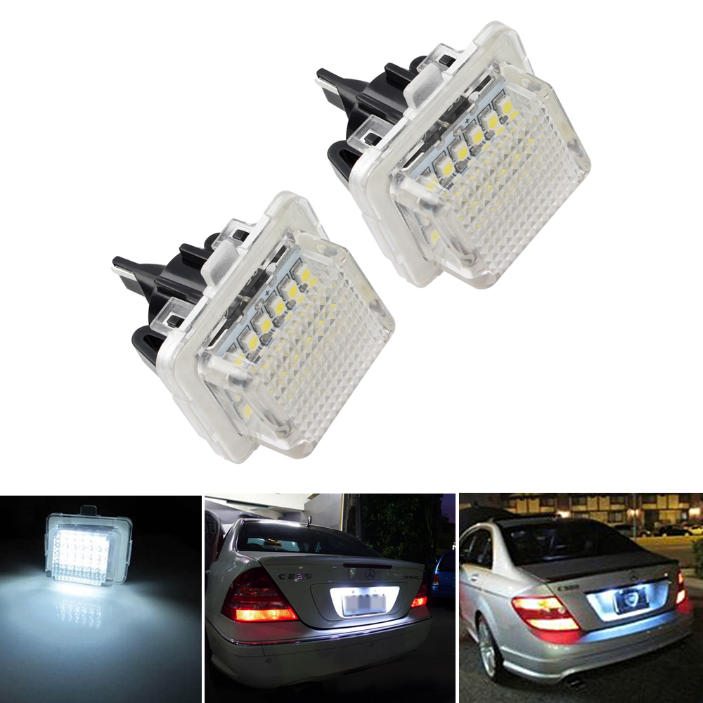 2 шт. Светодиодные Автомобильные номерные знаки для Benz W204 (5D) W207 W212 W216 W221 6000K 12V 3W Автомобильный Стайлинг 18 светодиодов автомобильный номерной ...