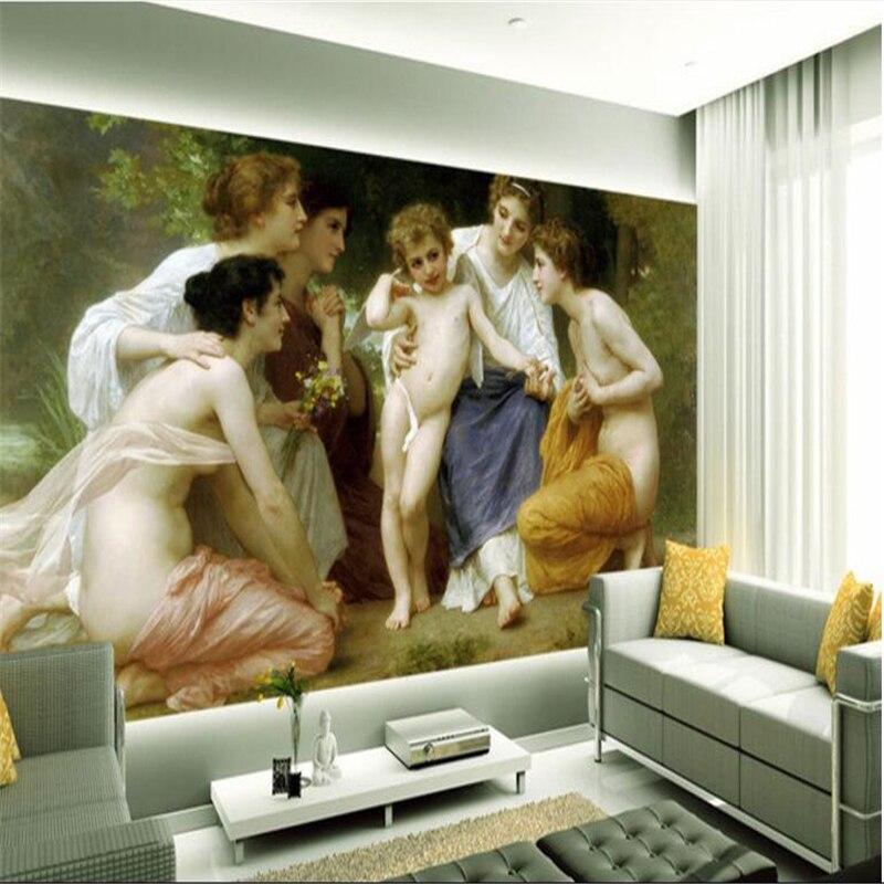beibehang mural stereo european oil bedroom living painting 3d background custom wall