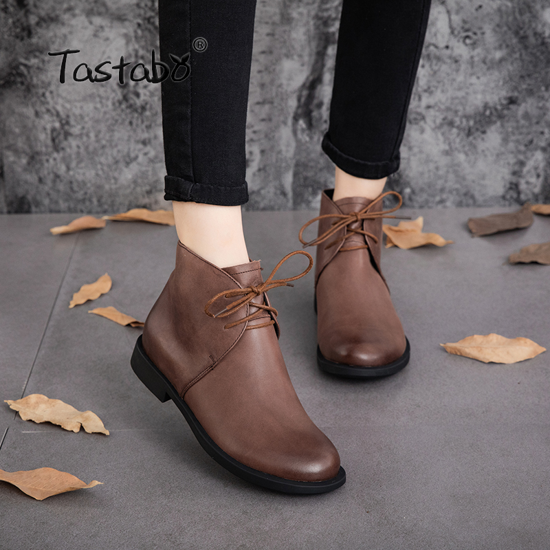 Tastabo Martin Boots Black Shoes Women Retro Handmade Ankle Boots Women Shoes 2018 Autumn Fashion Soft Genuine Leather Flat beyarne 2018 women s ankle boots autumn winter soft handmade retro martin boots flat shoes 100