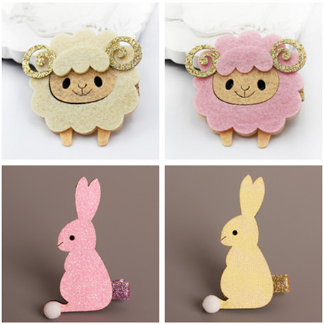 2pcs Korea Handmade Sheep Rabbit Animal Hair Accessories Princess Hair Clip Flower Crown Hairpin Headbands for Girls 3