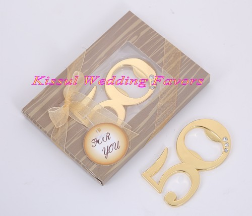 20 Pieces lot Event and Party Guest Favors of 50th Design Golden bottle opener for