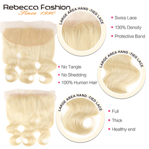 Image 3 - Rebecca 613 Blonde Bundles With Frontal Peruvian Body Wave 3 Bundles Remy Blonde Human Hair Lace Frontal Closure With Bundle