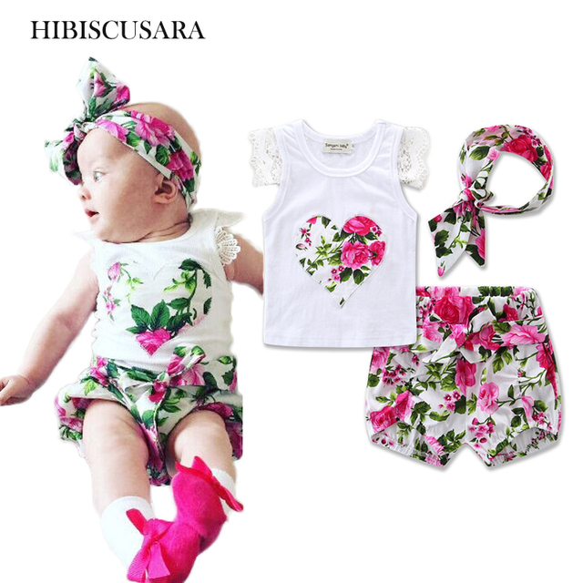 b4906fb81 0 3 Yrs Baby Summer Clothing Sets Newborn Baby Girl Floral Outifts ...