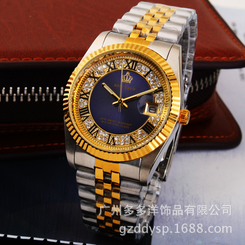 2016 Luxury HK REGINALD Brand Wrist Watch Golden Blue Quartz Watch Dress Party 50m Water Resistant Man Woman Lovers Wristwatches