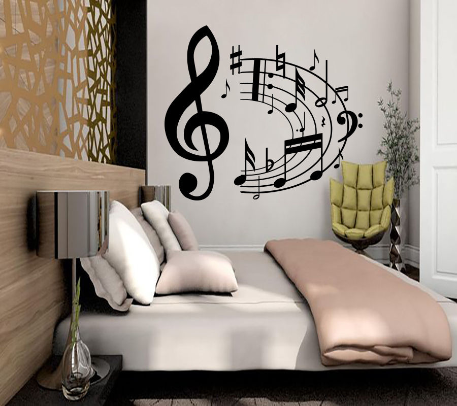 US $5.55 26% OFF|Wall Decal Music Not Eight Not Quaver Wall Sticker  Decorations Vinyl Notes Sticker Decor Home Bedroom Art Removable Decor WW  44-in ...