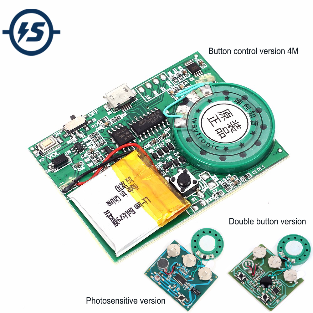 Chip Programmer DIY Voice Sound Recorder Board Photosensitive Audio Music Key Control Music Module For Greeting Card