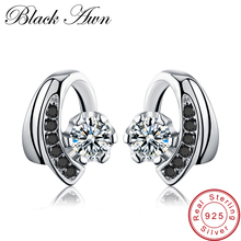 [BLACK AWN] Wedding Stud Earrings for Women Genuine 925 Sterling Silver Jewelry Black Spinel Stone Boucle Doreille Brincos T038