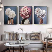 Posters and Prints Nodic Modern Big Size Flowers Feather Women Oil Painting Canvas Wall Pictures for Living Room Home Decoration(China)