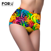 FORUDESIGNS Women Fashion High Waist Underwear For Woman Floral Pattern Seamless Ladies Underpants High Rise Body