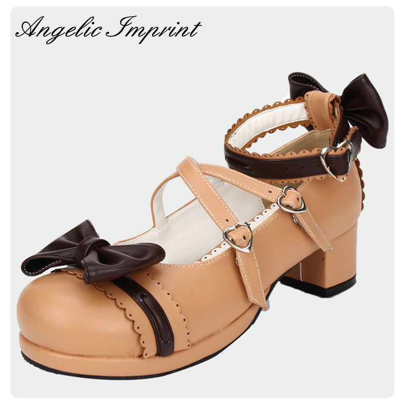 4 5cm Heel Black Beige Strappy Sweet Lolita Shoes Platform Round Toe Mori Girl Shoes