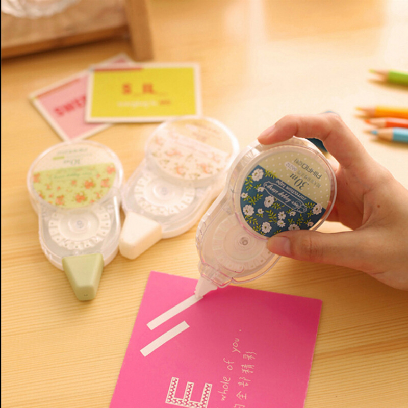 Korea Stationery Sweet Fresh Floral Decorative Correction Tape Large Capacity 30m Durable Correction Fluid School Office Supply