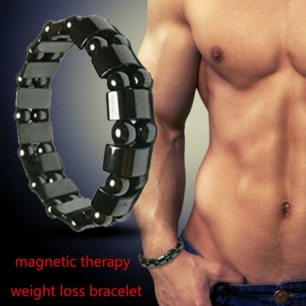 DEDOMON Adjustable Weight Loss Round Black Stone Magnetic Therapy Bracelet