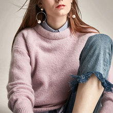 Beautiful Women Sweaters And Pullovers Mohari O Neck Long Sleeve Casual Loose Knitted Sweater Female Outwear Jumper Tricot Tops