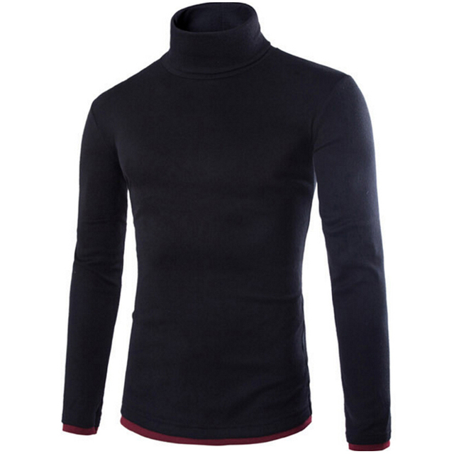 New Arrivals 2017 Hot selling falsos dois homens de malha camisa pullover camisola de gola alta homens da moda