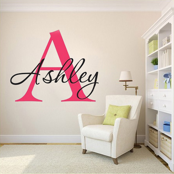 Custom personalized name monogram wall stickers say quote word custom made vinyl wall decals