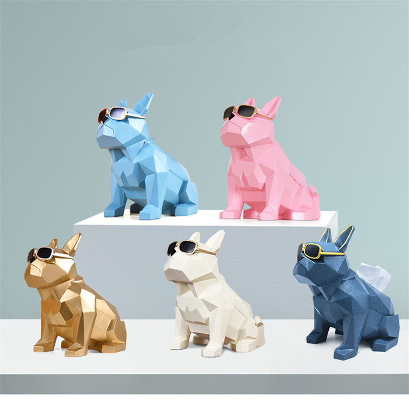 Creative Geometry Bulldog Tissue Holder Cassette Paper Holder Pumping Tray Living Room Coffee Table Decoration Dog