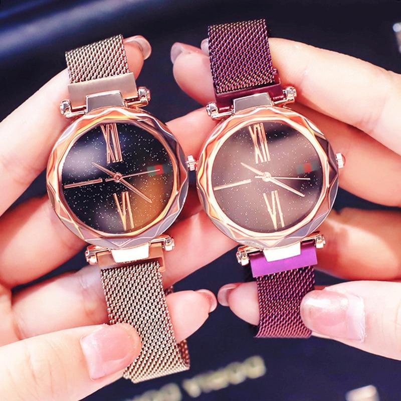все цены на Starry Sky Designer Women's Watches Magnetic Stainless Steel Mesh Strap Ladies Wrist Watches New zegarek damski relogio feminino онлайн